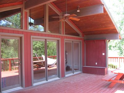 Large spacious partially covered deck