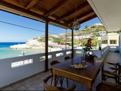 Photo for Beach front apartment with swimming pool ideal for families and couples