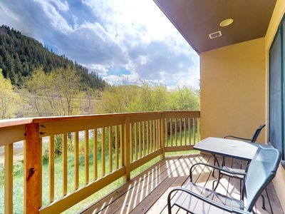 Photo for NEW LISTING! Ski-in/ski-out waterfront townhome w/ shared hot tub & balcony