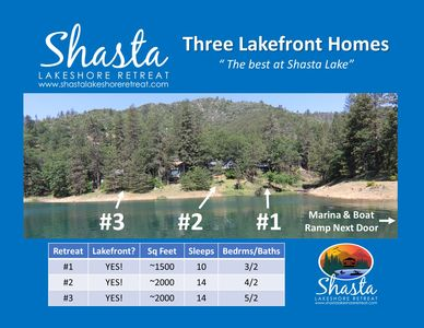 Three Lakefront Homes all available on VRBO.  Up to 38 guests.