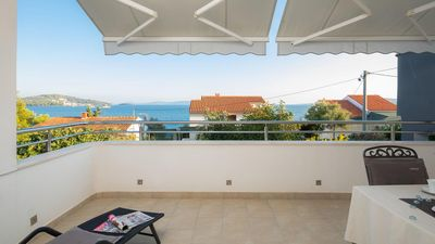 Photo for Two bedroom apartment with terrace and sea view Seget Vranjica, Trogir (A-978-b)