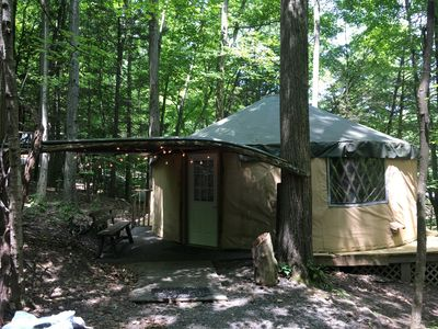 Photo for Spacious, airy yurt is delightful for glamping in comfort!