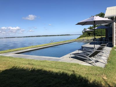 Photo for unbelievable water views, 50' pool and private beach