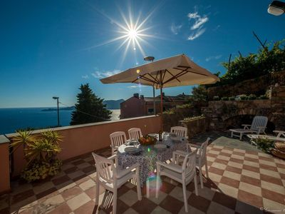 Photo for BRAND NEW! A TERRACE overlooking the sea in front of PORTOFINO, 30 minutes from the CINQUE TERRE