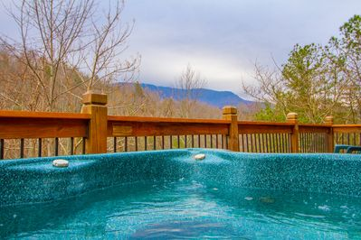 Partial mountain view as seen from hot tub