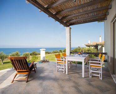 Sun Villa - front terrace with panoramic view of the Ionian Sea
