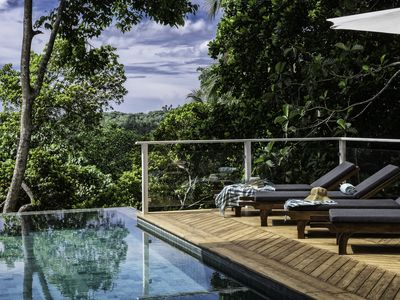 Photo for Stylish jungle ridge villa with stunning views near beach, restaurants and Fort