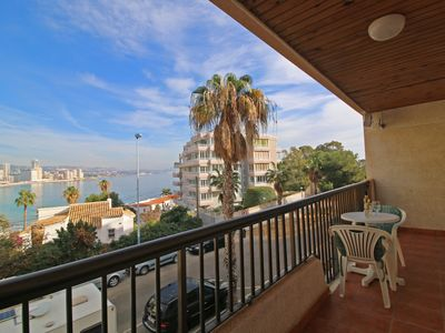 Photo for Cozy apartment Levante Beach on the beach of La Fossa in Calpe with terrace overlooking the sea
