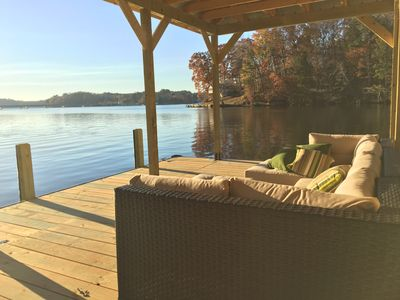 Photo for Lake house with big water view, private swimming beach less than 1 hour from ATL