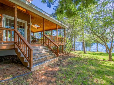 Photo for Beautiful waterfront home w/ a dock, great porch, gas grill, & outdoor space!