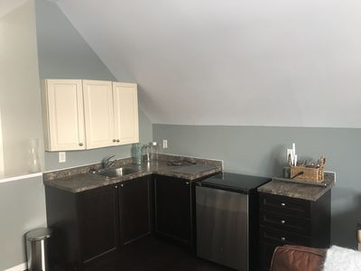 Straightforward kitchen complete with lovely, fancy, new toaster oven