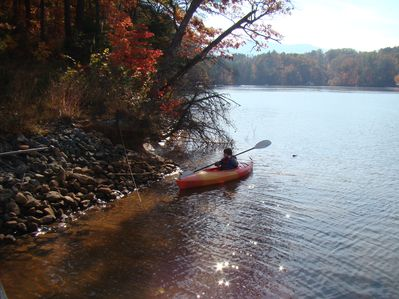 Kayaks and canoe available for guest use.