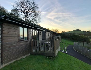 Our Chalet at dusk after a beautiful autumn day in North Devon.