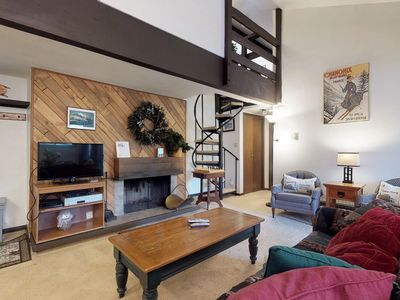 Photo for Ski chalet w/ balcony & shared outdoor pool & hot tub - close to Mountain House