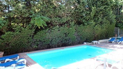 Photo for charming studio with pool and park 600 m to the beach