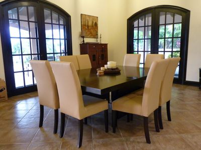 Formal dining with seating for eight.