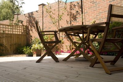 Somewhere to sit and relax,  you can smell the fresh herbs mint, sage and thyme.