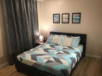 """Bedroom for two. Sleep like royalty on a queen size bed with an 8.5"""" thick mattr"""