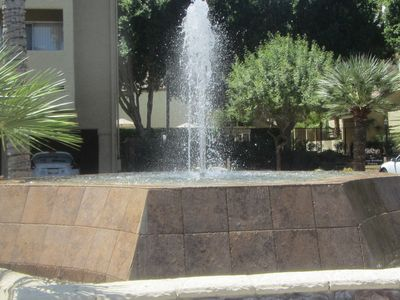 A water feature awaits you at the the front gate.