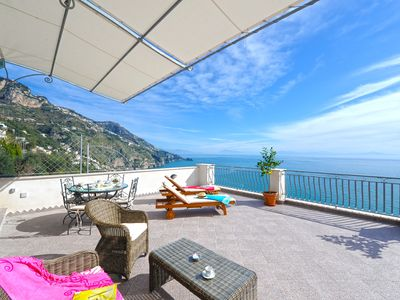 Photo for Spacious La Ulivella apartment in Praiano with WiFi, air conditioning, private terrace & balcony.