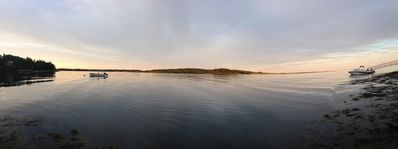 Your private panoramic view from west cove looking east. Dock on right.