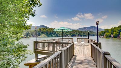 Photo for Lake Lure Lakefront home with pontoon boat, canoe, and game room.