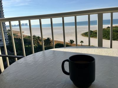 Enjoy your morning coffee over looking the expansive Marco beach