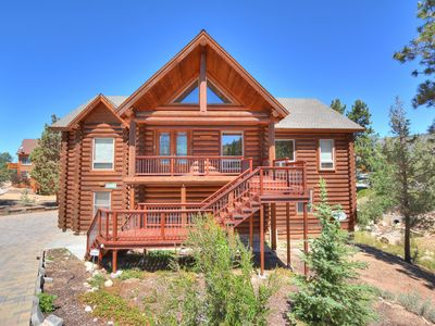 Photo for EAGLE RIDGE RETREAT - 5 BDR, FULL LOG CABIN WITH VIEWS AND GAME ROOM!