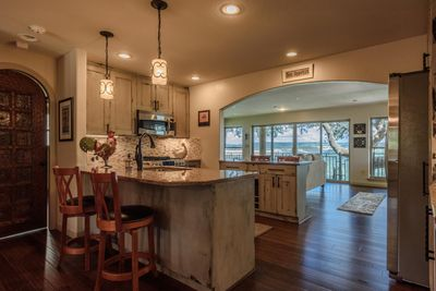 Kitchen with two bar tops for extra seating