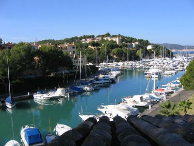 SW view from the 170m2 villa roof terrace over the Santa Ponsa yacht club