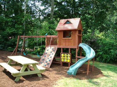 Play Area w/Fort, Slide, Swings, Climbing Wall, Tic-Tac-Toe Game, Picnic Table