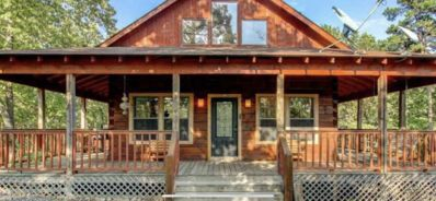 Photo for Secluded Log Cabin, Mountain Top, Hot Tub, Pool Table, 5 Miles From Downtown