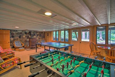 Head to the finished basement for game night!