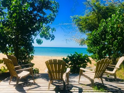 Our large oceanfront deck, great for sunsets, yoga & cocktails on private beach