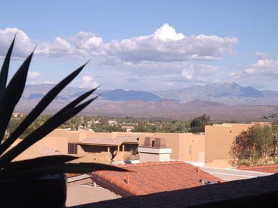 View of four peaks from our balcony.  It's much closer than it looks in picture.