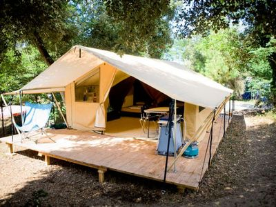 Photo for Camping Huttopia Les Chênes Verts - Tent Wood & Canvas 3 Rooms 5 People
