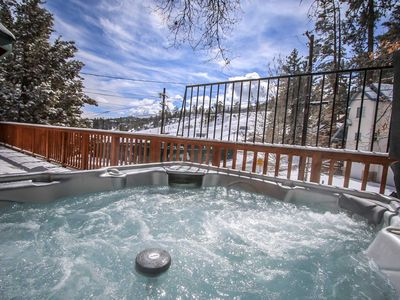 Outdoor Spa on Front Upper Deck Viewing Bear Mountain Ski Resort
