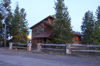 Exterior of house at sunset