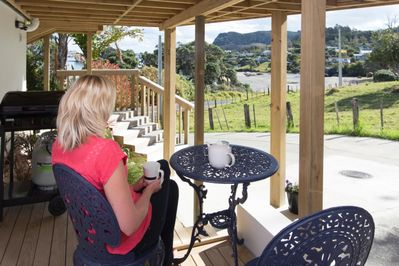 Deck with view of beach and Mt Manaia