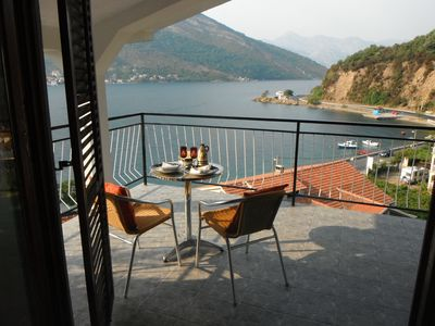 Photo for LARGE great 2 bed apartment great location with amazing views over the Kotor Bay