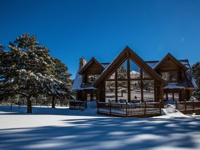 Photo for Log Cabin On 5 acres w/Pool Table, porch swing, & Fireplace, Backing San Francisco Peaks