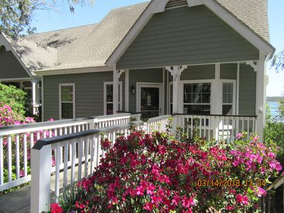 Closer View of Our Ships Inn Azaleas blooming in March