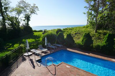40 foot pool and private steps down to the gorgeous Long Island sound