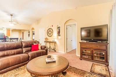 Living area includes a TV set with Cable services.