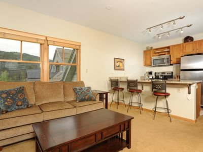 Photo for Mountain Condo + Balcony & Fireplace | Hot Tub, Sauna, & Gym Access!