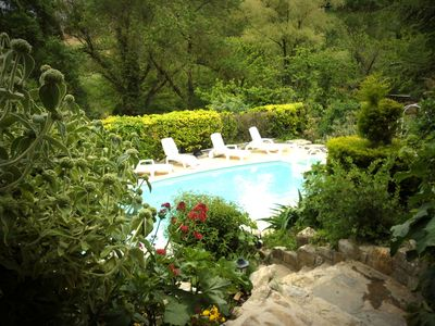 Photo for ardèchoise beautiful stone house in the southern Ardeche private pool