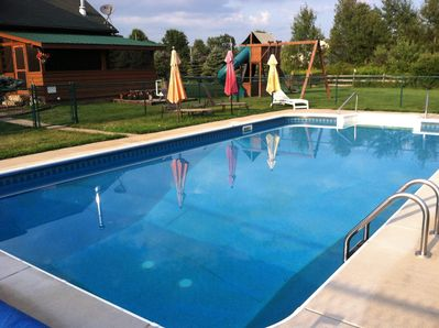 16 x 36 pristine pool. Play ground removed.  It is fenced in and childproof!