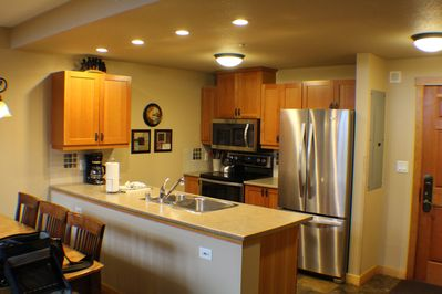 Well equipped  kitchen with all new appliances.