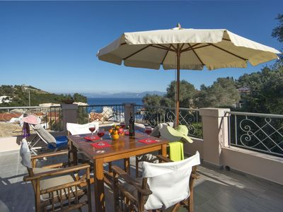 Photo for Mimika - 2 bedroom village house in beautiful Loggos - terrace and sea views