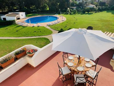 Photo for Large Luxury Family Apartment with poolside private terraces, WiFi, AC.